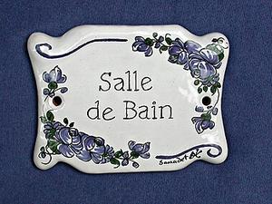 Plaque De Porte Décorative Salle De Bain Faïence - Plaques de porte décoratives