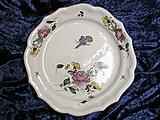 Grand Plat traditionnel rose/pois de senteur/papillon profil